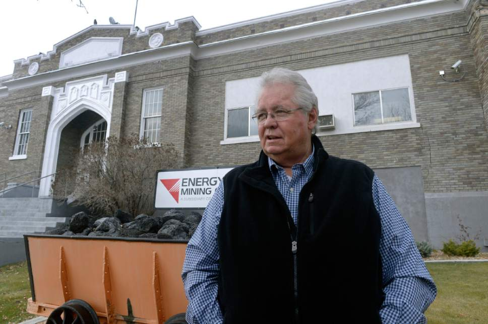Al Hartmann  |  The Salt Lake Tribune Former Emery County Sheriff Lamar Guymon stands outside of the building in  Huntington that was the headquarters of Emery Mining Co. when the Wilberg Mine fire broke out on Dec. 19, 1984, killing 27 coal miners in Utah's worst disaster of the past 90 years.