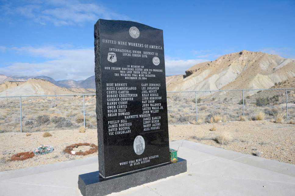 Al Hartmann  |  The Salt Lake Tribune Monument to the 27 coal miners who died in the Dec. 19th 1984 Wilberg Mine fire, the state's worst disaster of the past 90 years.  The monument is near Orangelville just down hill from the mine in the distant hills.