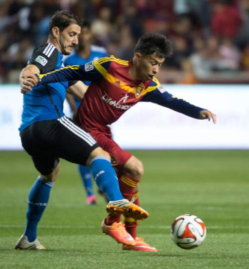 Rick Egan  |  The Salt Lake Tribune  Real Salt Lake midfielder Sebastian Velasquez (26) battles San Jose Earthquakes midfielder Jean-Baptiste Pierazzi (80) for the ball,  in RSL action Real Salt Lake vs. San Jose Earthquakes, at Rio Tinto Stadium, Saturday, October 11, 2014