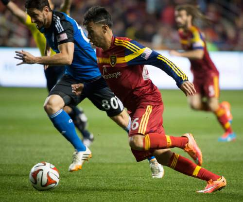 Rick Egan  |  The Salt Lake Tribune  Real Salt Lake midfielder Sebastian Velasquez (26) races San Jose Earthquakes midfielder Jean-Baptiste Pierazzi (80) for the ball,  in RSL action Real Salt Lake vs. San Jose Earthquakes, at Rio Tinto Stadium, Saturday, October 11, 2014