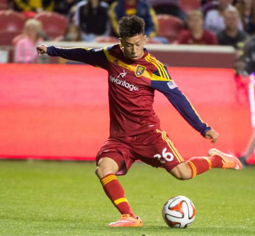Rick Egan  |  The Salt Lake Tribune  Real Salt Lake midfielder Sebastian Velasquez (26) kicks the ball, in RSL action Real Salt Lake vs. San Jose Earthquakes, at Rio Tinto Stadium, Saturday, October 11, 2014