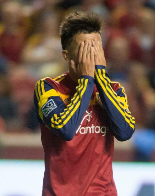 Rick Egan  |  The Salt Lake Tribune  Real Salt Lake midfielder Sebastian Velasquez (26) reacts after narrowly missing a goal, in RSL action Real Salt Lake vs. San Jose Earthquakes, at Rio Tinto Stadium, Saturday, October 11, 2014
