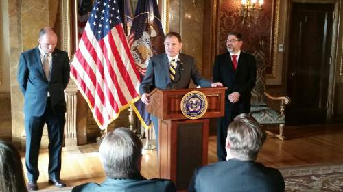 Lennie Mahler  |  The Salt Lake Tribune Gov. Gary Herbert, center, announces Constandinos Himonas, right, as his nominee for Utah Supreme Court during a news conference Thursday, Dec. 18, 2014.