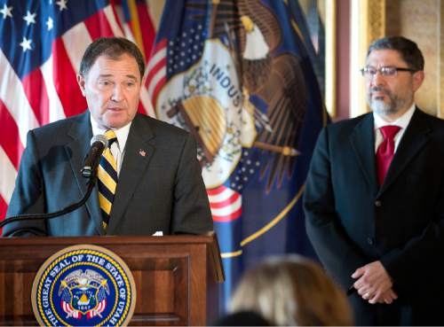 Lennie Mahler  |  The Salt Lake Tribune Gov. Gary Herbert speaks to the media during a press conference announcing  nomination of Judge Constandinos Himonas, right, to the Utah Supreme Court, Thursday, Dec. 18, 2014, at the Utah State Capitol.