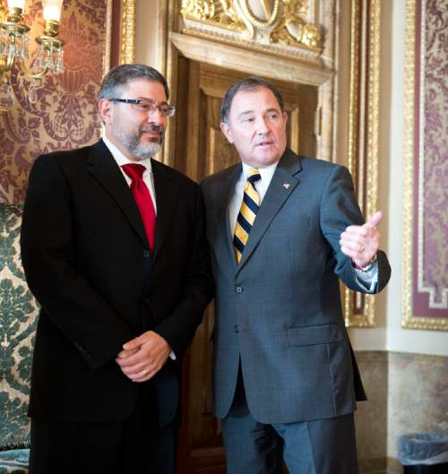 Lennie Mahler  |  The Salt Lake Tribune Judge Constandinos Himonas and Gov. Gary Herbert speak after a press conference announcing Himonas' nomination to the Utah Supreme Court, Thursday, Dec. 18, 2014, at the Utah State Capitol.