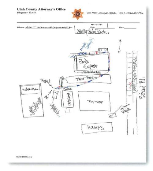 Cpl. Matt Schauerhamer of the Saratoga Springs Police Department drew this diagram of their encounter with Darrien Hunt.