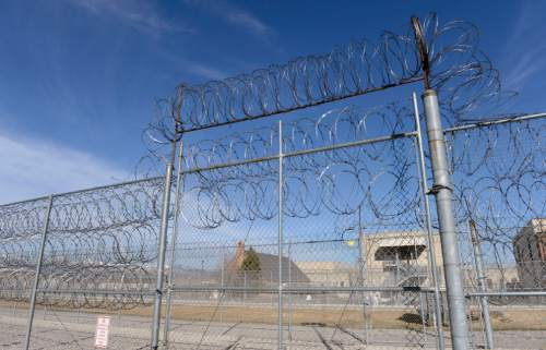 Al Hartmann  |  The Salt Lake Tribune  Double fences with razor wire at the Oquirrh unit at the Utah State Prison in Draper.