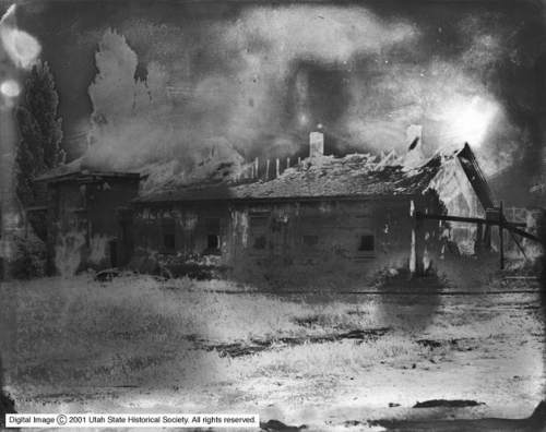 Courtesy | Utah State Historical Society Image shows the remains of a July 1922 fire at the Warm Springs Resort, north of Salt Lake City.
