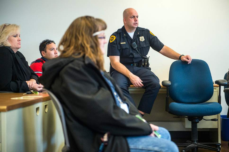 Chris Detrick  |  The Salt Lake Tribune Metro Support Deputy Chief Fred Ross leads a discussion during a women's support meeting at Salt Lake City Police Department's Metro Support Resource Center, 420 W. 200 South, Tuesday, Dec. 16, 2014. The meetings are held every Tuesday at 1 p.m. for women and every Thursday at 1 p.m. for men.