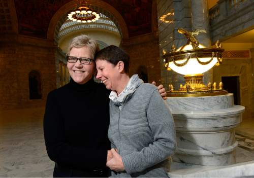 Scott Sommerdorf   |  The Salt Lake Tribune Kody Partridge and Laurie Wood at the Utah State Capitol, Sunday, Dec. 21, 2014.