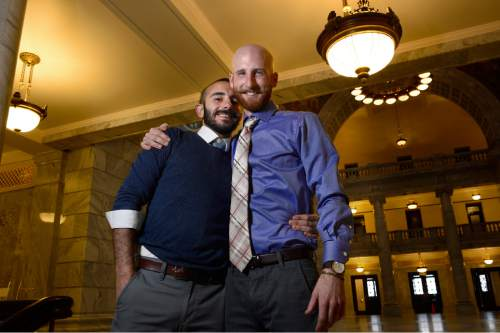Scott Sommerdorf   |  The Salt Lake Tribune Moudi Sbeity and Derek Kitchen at the Utah State Capitol, Sunday, Dec. 21, 2014.
