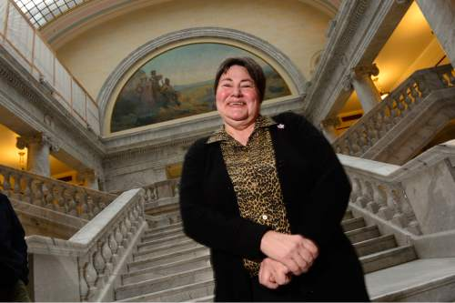Scott Sommerdorf   |  The Salt Lake Tribune Kate Call at the Utah State Capitol, Sunday, Dec. 21, 2014. Her wife, Kate Archer, was unable to attend due to illness.