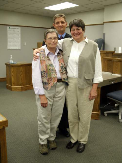 Photo courtesy of Kate Call American Fork residents Karen Archer, left, and Kate Call were  married in Council Bluffs, Iowa, on July 11 by District Associate Judge  Craig R. Dreismeier.