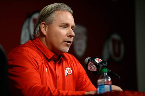 Francisco Kjolseth     The Salt Lake Tribune Dave Christensen, Utah's newest offensive coordinator is introduced during a press conference at the University of Utah football practice facility on Tuesday, Jan. 7. 2014.