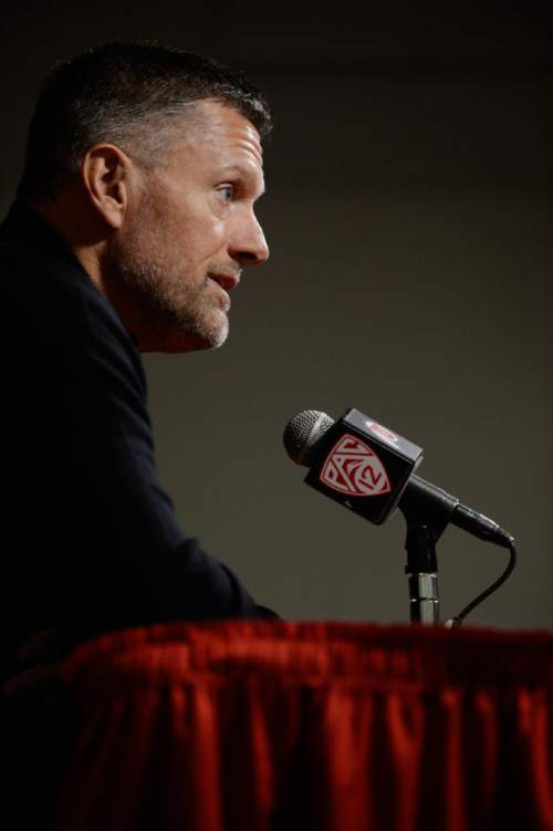 Francisco Kjolseth     The Salt Lake Tribune Coach Kyle Whittingham answers questions from the media following an introduction of Dave Christensen, Utah's newest offensive coordinator during a press conference at the University of Utah football practice facility on Tuesday, Jan. 7. 2014.