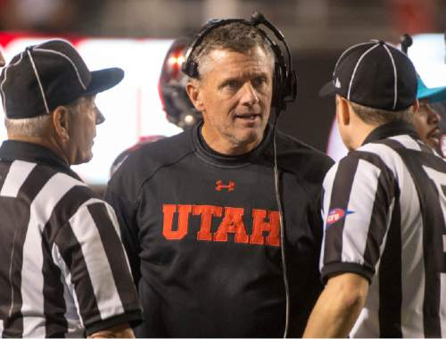 Rick Egan  |  The Salt Lake Tribune  Utah Utes head coach Kyle Whittingham chats with the officials, in PAC-12 action, Utah vs. Oregon game, at Rice-Eccles Stadium, Saturday, November 8, 2014