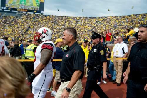 Jeremy Harmon  |  The Salt Lake Tribune  Kyle Whittingham enters Michigan Stadium as the Utes face the Wolverines in Ann Arbor, Saturday, Sept. 20, 2014.