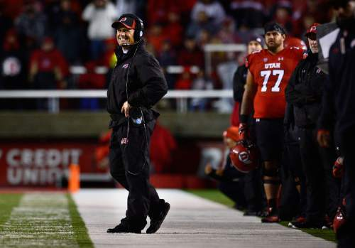 Scott Sommerdorf   |  The Salt Lake Tribune Utah head coach Kyle Whittingham looks at the play late in the fourth quarter as Utah's offense was sputtering. Utah lost 28-27 to Washington State, Saturday, September 27, 2014.