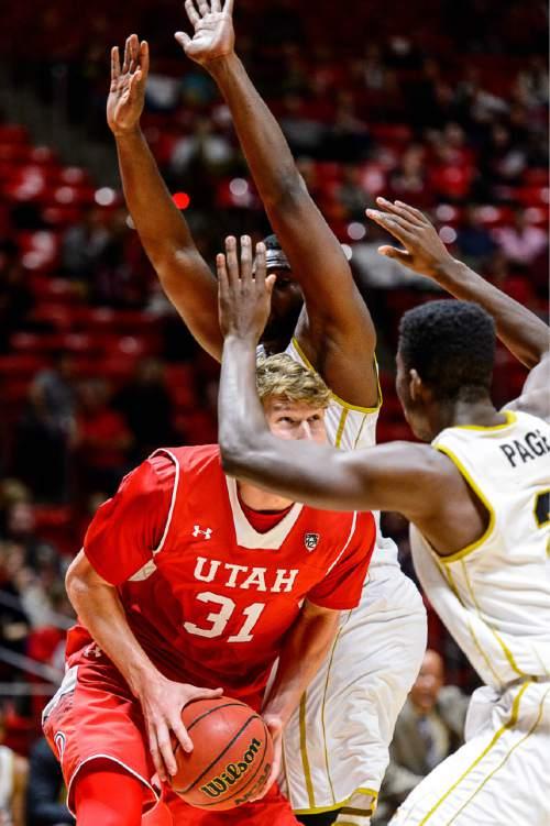 Trent Nelson     The Salt Lake Tribune Utah Utes center Dallin Bachynski (31) looks for a shot as the University of Utah Utes host the Alabama State Hornets, college basketball at the Huntsman Center in Salt Lake City, Saturday November 29, 2014.