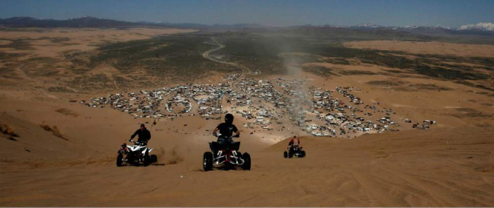 Leah Hogsten  |  Tribune file photo The top of Sand Mountain looking down at the Little Sahara campground. Little Sahara's sand hills, including 700-foot-high Sand Mountain, are a draw for off-road vehicle operators.
