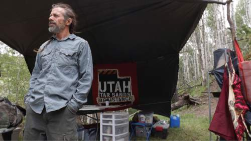 "David Self Newlin | The Salt Lake Tribune  Lionel Trepanier, a member of the Utah Tar Sands Resistance which is camping at PR Springs in what they call a permanent ""protest vigil"" in an effort to stop development of tar sands in the area."