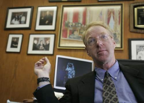 Paul Cassell, a former federal judge and now a law professor, talks about victims rights Wednesday, July 16, 2008 in offices at the University of Utah Law School. 07/16/08 (Jim Urquhart/The Salt Lake Tribune)