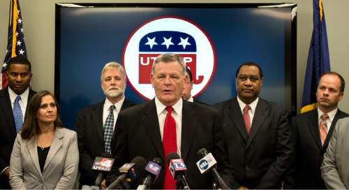 Lennie Mahler  |  The Salt Lake Tribune Sen. Scott Jenkins, R-Plain City, speaks to the media about poll results of SB 54, a legislative compromise from the Count My Vote initiative, at the Utah Republican Party headquarters in Salt Lake City, Sunday, Jan. 4, 2015.