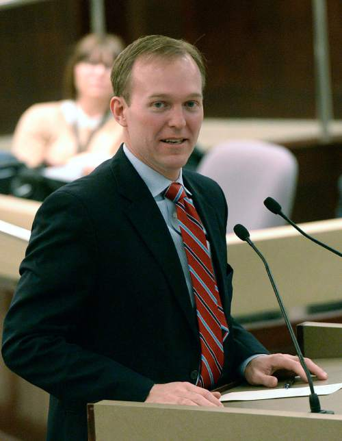 Al Hartmann  |  The Salt Lake Tribune Salt Lake County Mayor Ben McAdams speaks at the oath of office ceremony at the Salt Lake County Council chamber Monday January 5.