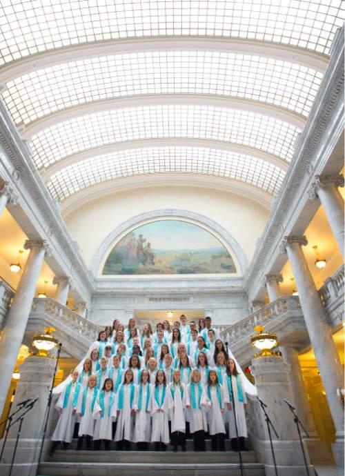 Steve Griffin  |  The Salt Lake Tribune   Members of the One Voice Chidlren's Choir, sing the national anthem as Utah Attorney General Sean Reyes is inaugurated in the Utah Capitol Rotunda in Salt Lake City, Monday, Jan. 5, 2015.