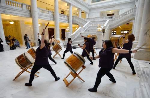 Steve Griffin  |  The Salt Lake Tribune   Members of the Ogden Buddhist Taiko Drummers entertain guests as Utah Attorney General Sean Reyes is inaugurated in the Utah Capitol Rotunda in Salt Lake City, Monday, Jan. 5, 2015.