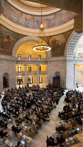 Steve Griffin  |  The Salt Lake Tribune   Attorney General Sean Reyes speaks to his guests during his inaugural program in the Utah Capitol Rotunda in Salt Lake City, Monday, Jan. 5, 2015.