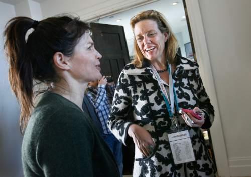 Scott Sommerdorf  l  The Salt Lake Tribune Geralyn Dreyfous, right, speaks with Julia Ormond at a Sundance Film Festival party in 2011.
