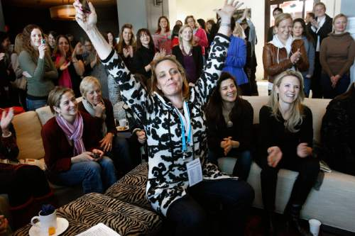 """Scott Sommerdorf  l  The Salt Lake Tribune Geralyn Dreyfous (center) celebrates as the group just sang """"Happy Birthday"""" to Geena Davis. Dreyfous continued her film promotion tour of """"Miss Representation"""" at Jacki Zehner's home in Park Meadows, where she met with Gloria Steinem, Geena Davis, and ther women connected to the movie industry, Sunday, 1/23/2011."""