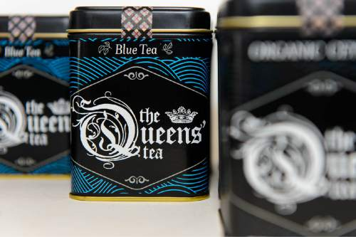 Trent Nelson  |  The Salt Lake Tribune The Queens' Tea, a Salt Lake City brand put out by Michael Ferguson and J. Seth Anderson and sold at The Downtown Farmers market and restaurants/shops around the Salt Lake Valley.
