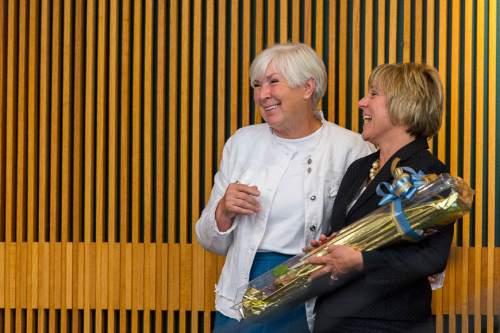 Trent Nelson  |  The Salt Lake Tribune Dr. Deneece G. Huftalin, right, embraces Gail Miller after being named the new President of Salt Lake Community College, Thursday September 11, 2014.