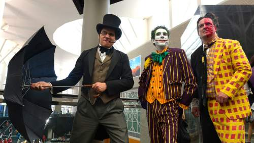 Leah Hogsten  |  The Salt Lake Tribune l-r Diego Salas of Upland, CA, Patrick Chambers of Millcreek and Remo Mills of Farming during the cosplay parade September 6, 2014, during the second annual Comic Con,  at the Salt Palace Convention Center.