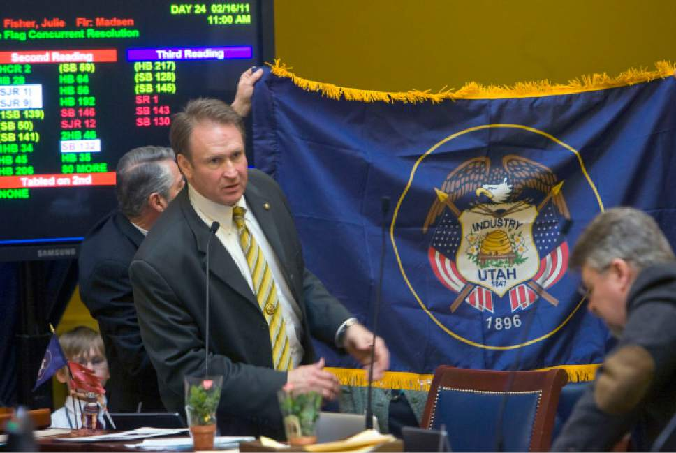 Al Hartmann   |  Tribune file photo Sen. Mark Madsen, R-Saratoga Springs, has frustrated many constitutents by seeming to be going against community wishes on the prison relocation issue and then being difficult to contact to discuss the matter. In this file photo from the floor of the state Senate, he is discussing the Utah State Flag.