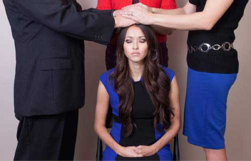 Daniele Vickers  |  Courtesy   Ordain Women has created a series of photo illustrations -- not photos of actual events -- to help women imagine what it might look like if Mormon women were allowed into the LDS Church's all-male priesthood.