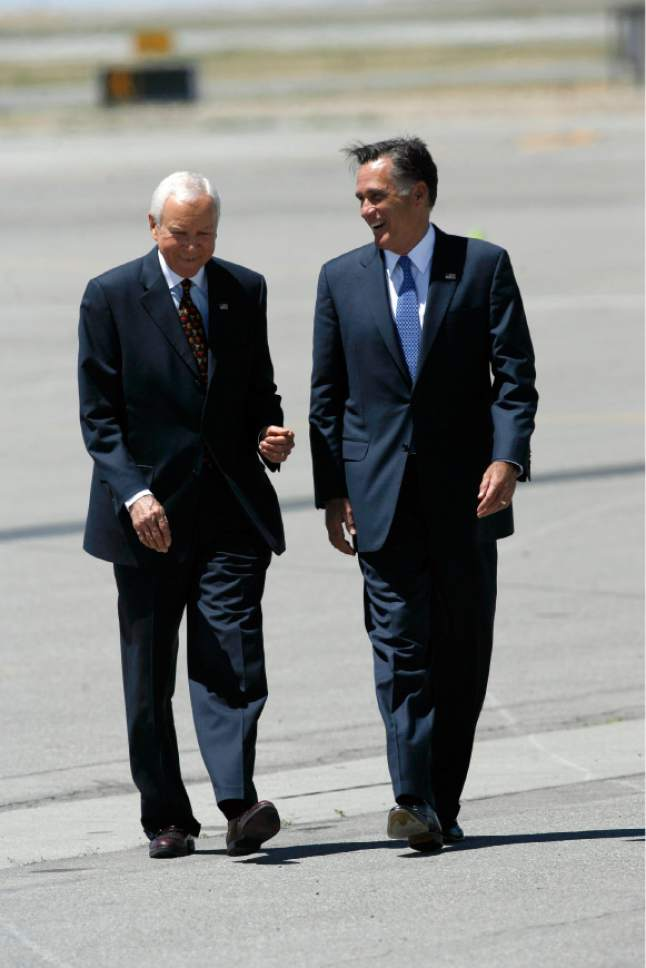 Francisco Kjolseth  |  The Salt Lake Tribune Sen. Orrin Hatch welcomes Republican presidential candidate, former Massachusetts Gov. Mitt Romney as he arrives in Salt Lake City on Friday, June 8, 2012, during a campaign stop fund-raiser and to do a grip-and-grin for Sen. Orrin Hatch.