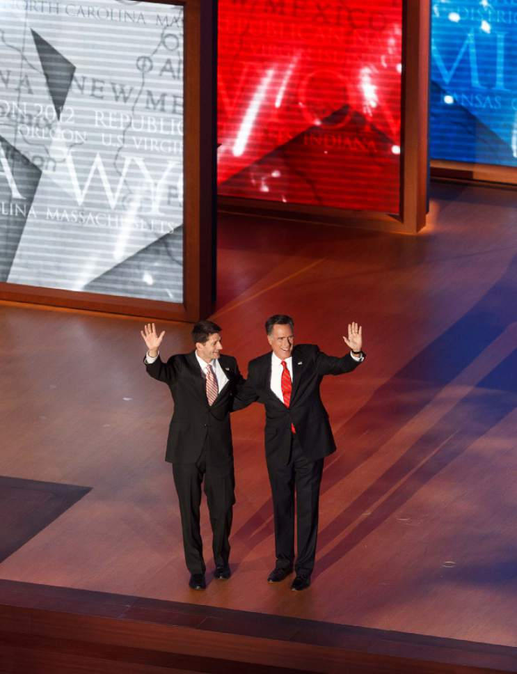 Trent Nelson  |  The Salt Lake Tribune Paul Ryan and Mitt Romney wave at the close of the Republican National Convention in Tampa, Florida, Thursday, August 30, 2012.