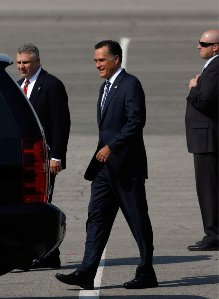 Francisco Kjolseth  |  The Salt Lake Tribune Republican presidential candidate Mitt Romney arrives in Utah for a pair of fundraisers on Tuesday, September 17, 2012, in what is expected to be his last stop in the state before the November election.