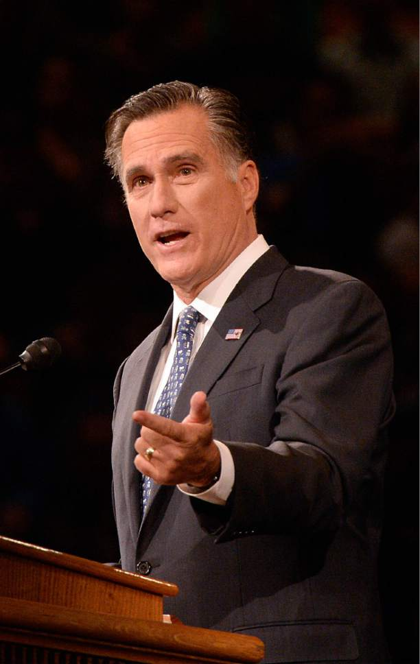 Al Hartmann  |  The Salt Lake Tribune 2012 Republican presidential candidate Mitt Romney will speak at an event on the status of the economy at Abravanel Hall on Wednesday, Jan. 21.