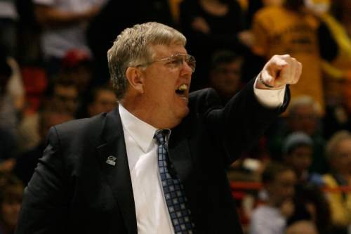 Utah State Coach Stew Morrill during the second half of the game at the Taco Bell Arena Friday, March 20, 2009. Utah State lost the game 58-57.  Photo by Chris Detrick/The Salt Lake Tribune
