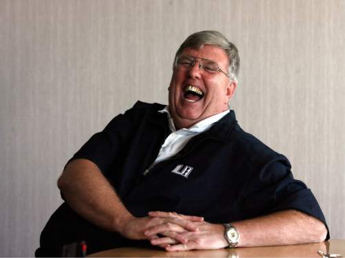 Rick Egan   |  The Salt Lake Tribune  USU coach Stew Morrill has a laugh during an interview on the USU campus, before  basketball practice in the Spectrum, Wednesday, November 4,  2009