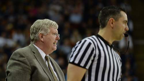 Steve Griffin  |  The Salt Lake Tribune  Utah State head coach Stew Morrill growls at the refs after a call went against his team during second half action in the BYU versus USU men's basketball game in Logan, Tuesday, December 2, 2014.