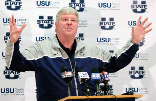 Utah State basketball coach Stew Morrill speaks at a press conference, Friday, Jan. 9, 2014, in Logan, Utah, where he announced that he will retire at the end of the season. (AP Photo/The Herald Journal, Eli Lucero)