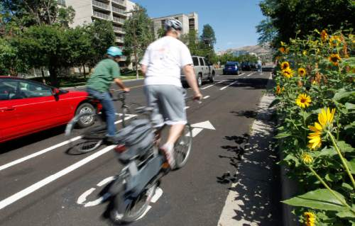 Al Hartmann  |   Tribune file photo A proposed new pillar of Utah's transportation future? Bike lanes. The Wasatch Front Regional Council transportation plan calls for lots of new regional bike lanes, including one parallel to I-15 from Provo to Ogden.