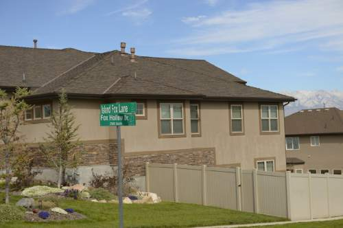 Leah Hogsten  |  The Salt Lake Tribune Purchasers of lots in this Saratoga Springs development along Fox Hollow Lane, Wednesday, October 8, 2014,  were sold lots without water and many were subsequently foreclosed on when they couldn't get building permits.