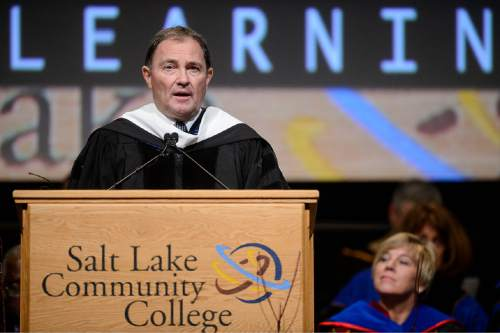 Trent Nelson  |  The Salt Lake Tribune Utah Governor Gary Herbert speaks at the inauguration of Deneece Huftalin as president of Salt Lake Community College in Taylorsville, Friday January 9, 2015.