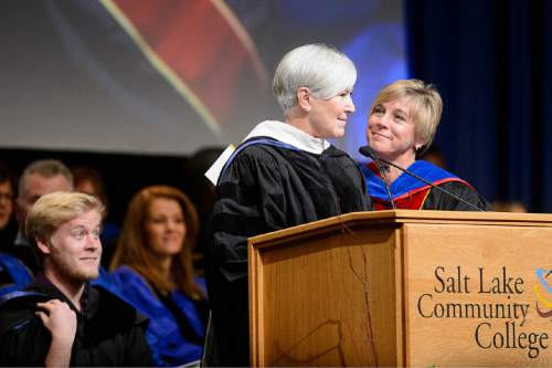 Trent Nelson  |  The Salt Lake Tribune Gail Miller speaks at the inauguration of Deneece Huftalin, right, as president of Salt Lake Community College in Taylorsville, Friday January 9, 2015.